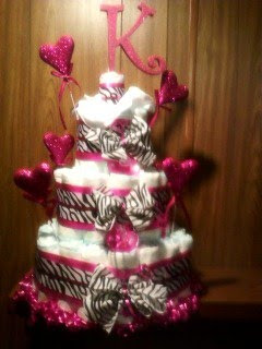 Hot Pink/Zebra print with glitter Hearts