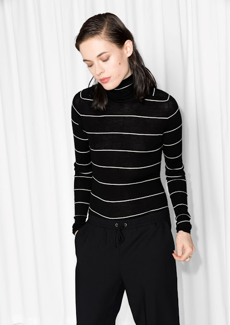 black stripe turtleneck, black white striped polo top,