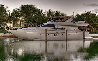The Yacht Berth Wharf Sea Water Palms House Evening HD Wallpaper