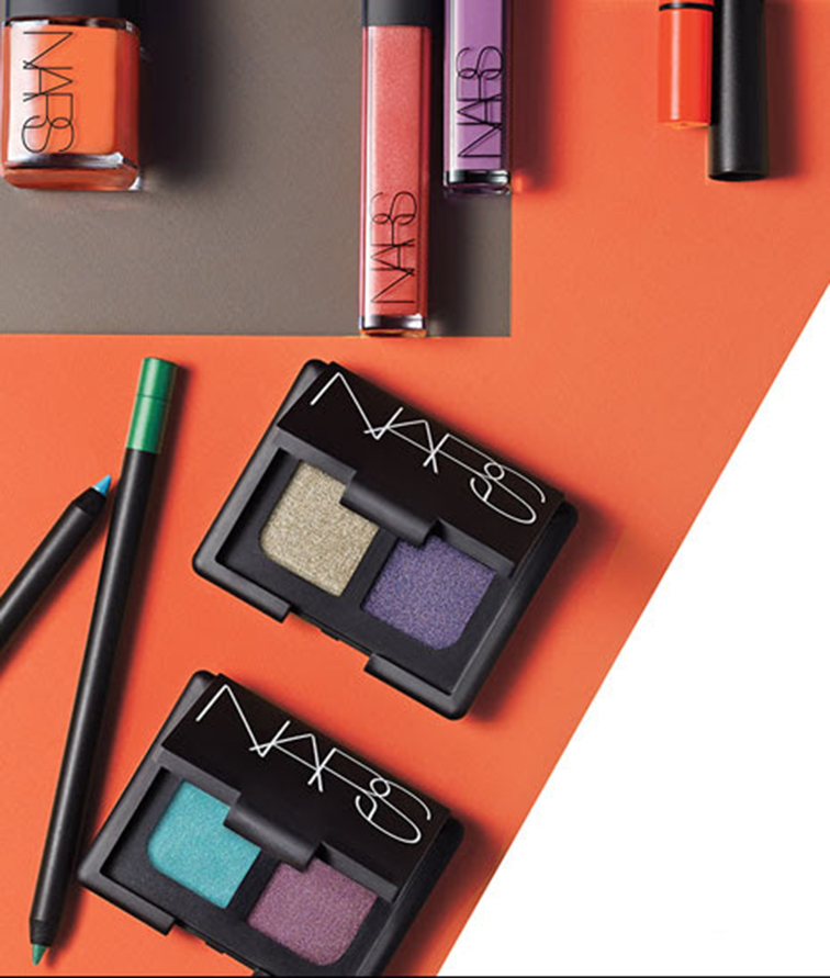 NARS Cosmetics eyeshadow duo, orange nail polish, lip gloss, Narsissist