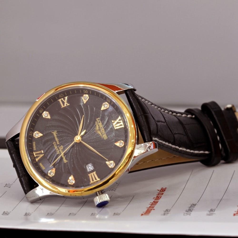 Đồng hồ longines dây da màu đen