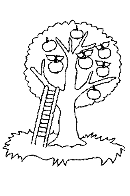 Fruitful apple tree underlying ladder to pick fruit in the form of crayon