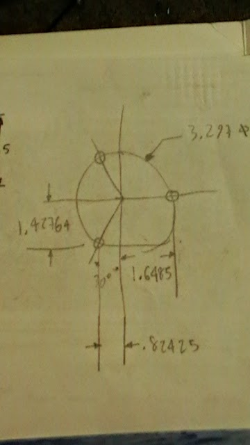 3 hole bolt hole circle layout trigonometry
