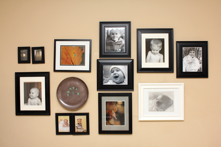 Wall Display with Picture Frames