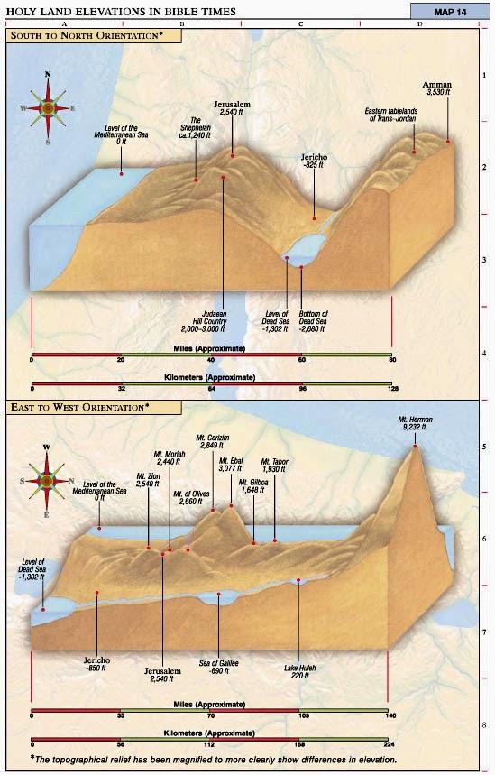 Peta perjalanan bangsa Israel dari Mesir menurut kronologi Alkitab.
