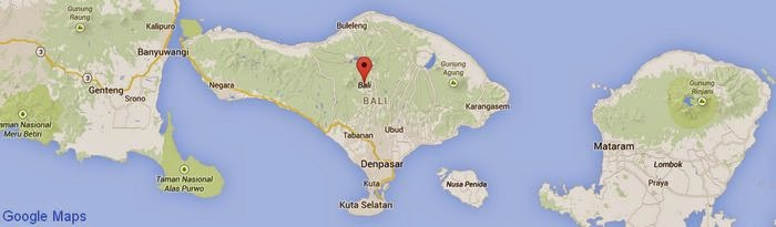 Bali Island in Indonesia country, on the left is the island of Java, and on the right is the island of Lombok