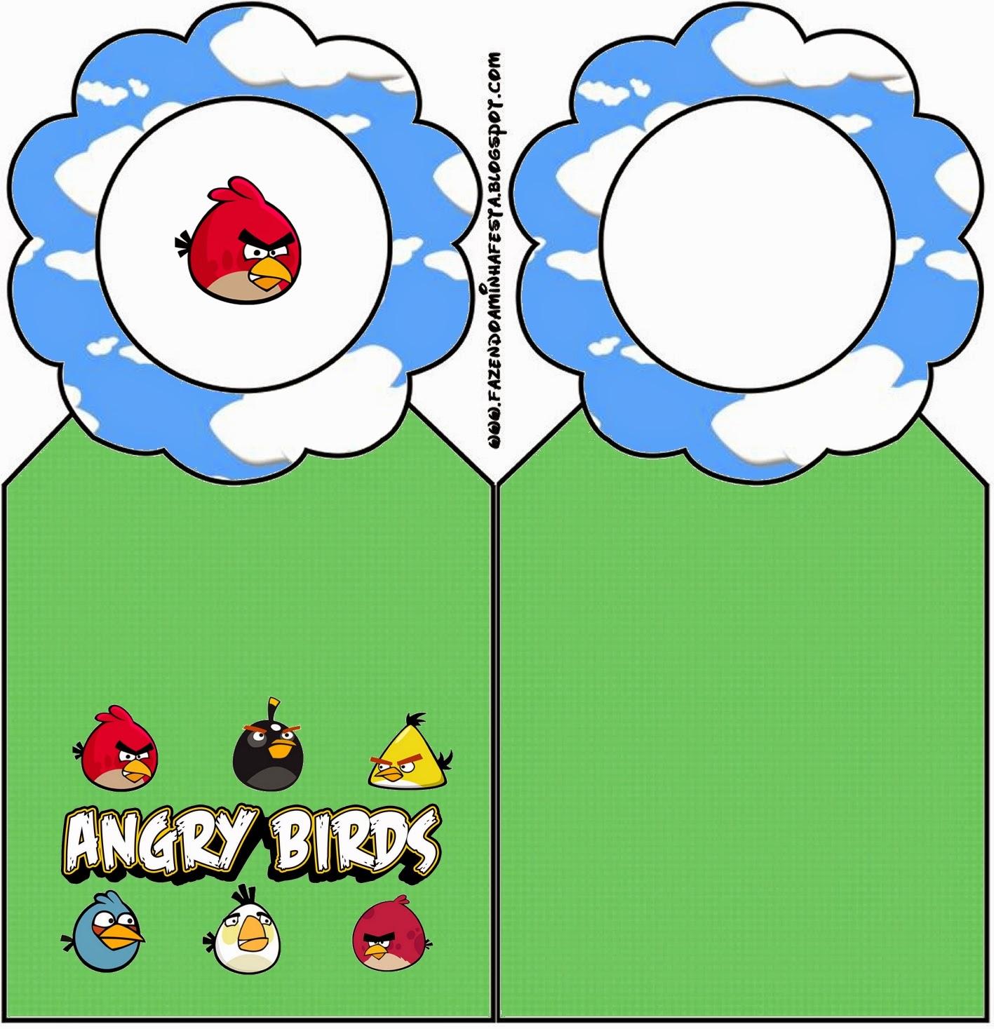 Para marcapáginas de Angry birds con Nubes.