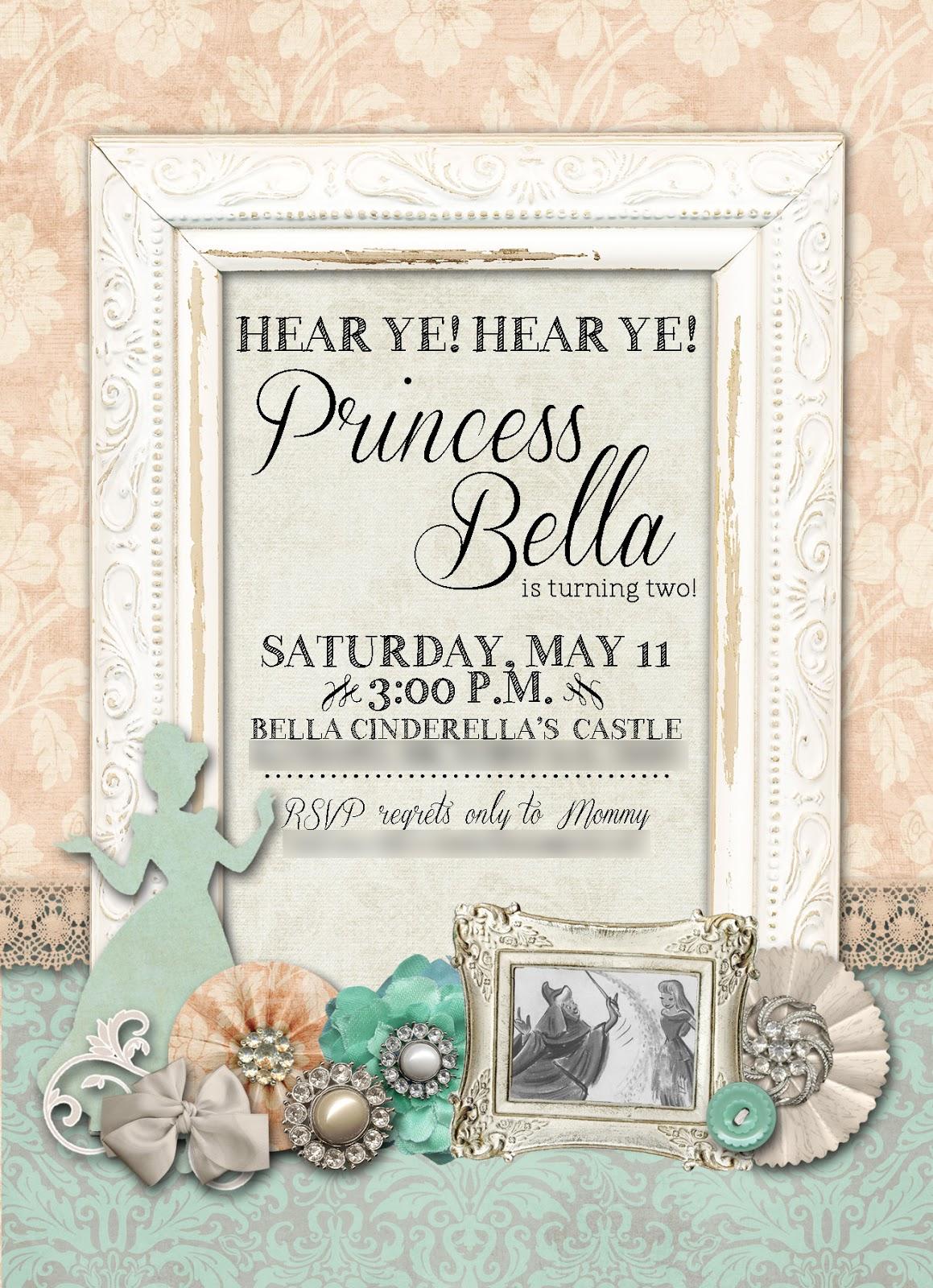 Slightly Askew Designs: Vintage Cinderella Party Invitation
