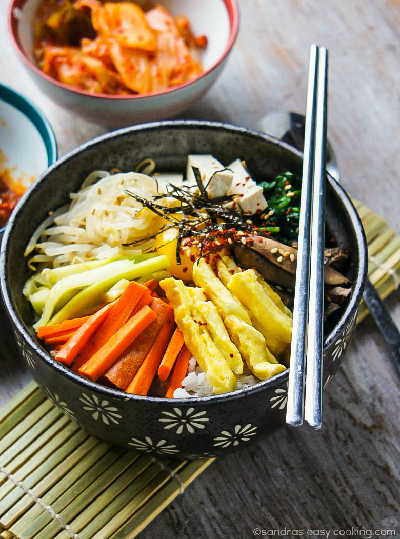 Simple recipe for Korean Vegetarian Mixed Rice Bowl Bibimbap