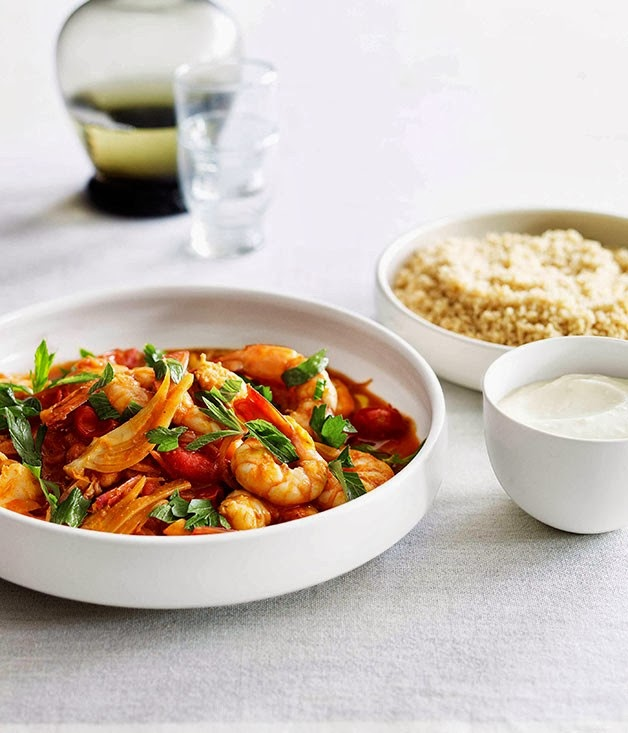 Prawns with Tomato Preserved Lemon & Couscous
