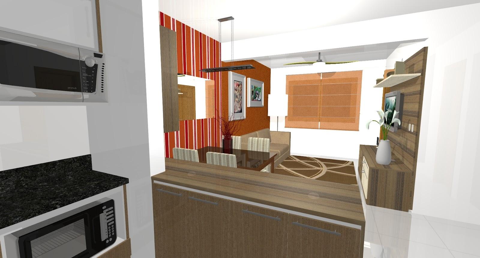 Ambientes planejados.: Cozinha Sala de Estar e Jantar. #AA4321 1600x860