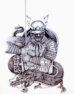 Desenho de tatuagem de samurai com dragão oriental para tatuar