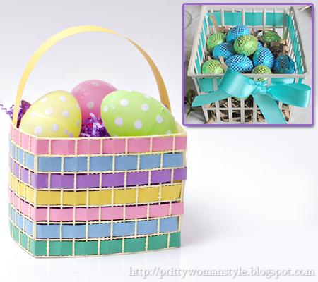 Кошничка за яйца от готова кошница или панерче с панделка