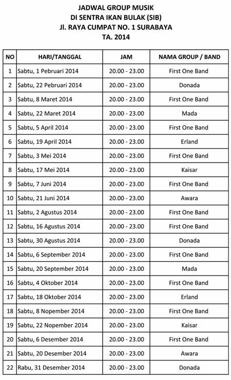 Jadwal Live Musik di Sentra Ikan Bulak Surabaya 2014