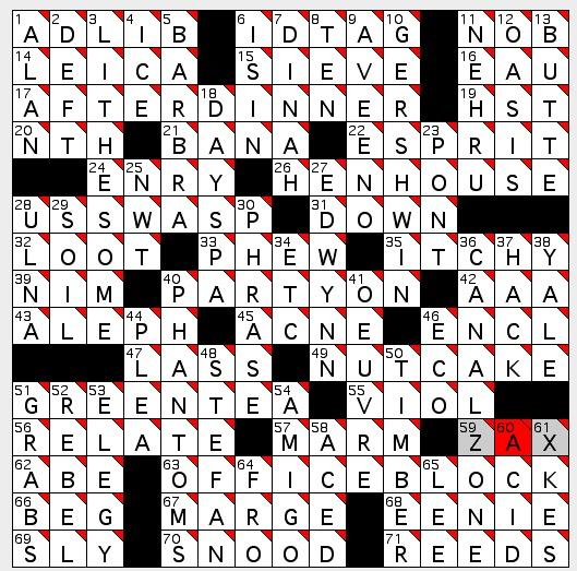 Marienbad for one crossword