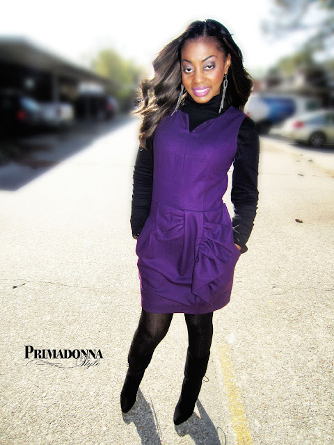 How to wear a turtleneck Pippa Mimi Purple Dress Suede Boots