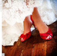 sexy open toed red shoes with white lace dress