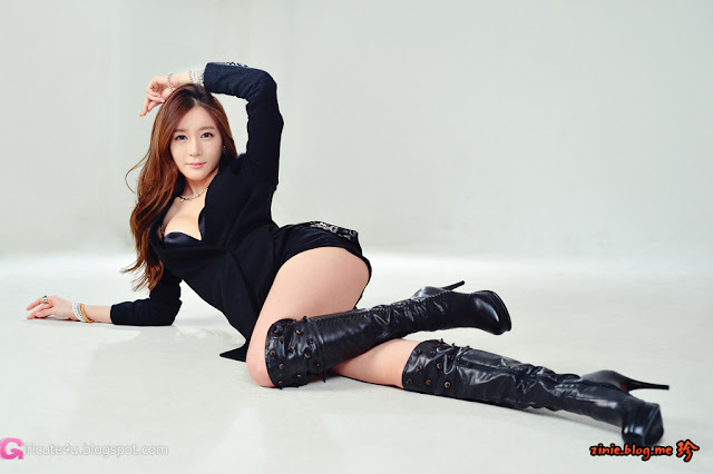 1 Han Ji Eun in Black -Very cute asian girl - girlcute4u.blogspot.com
