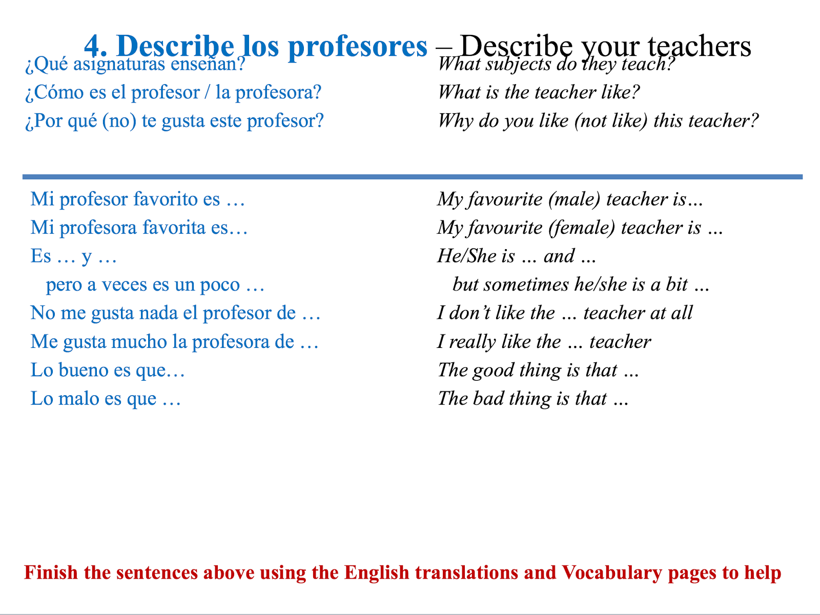 spanish writing phrases essay