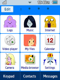 Anime Adventure Time Samsung Corby 2 Theme Menu