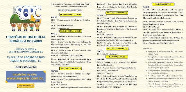 Programação do I Simpósio de Oncologia Pediátrica do Cariri