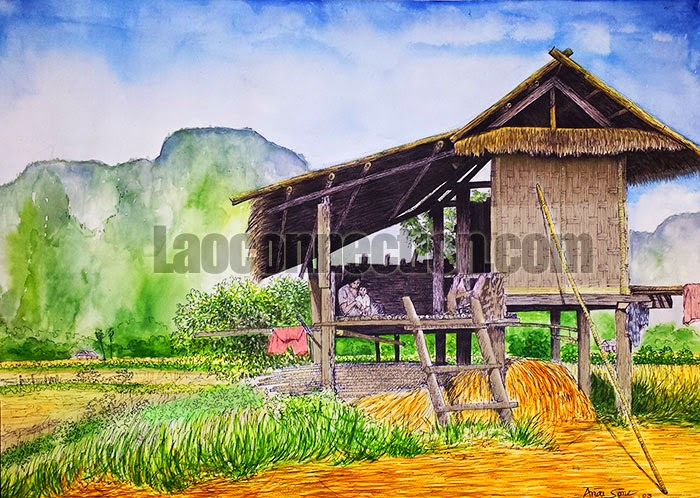 Painting of a Rest hut in a rice field in Vangvieng, Laos, Painted by Anousone