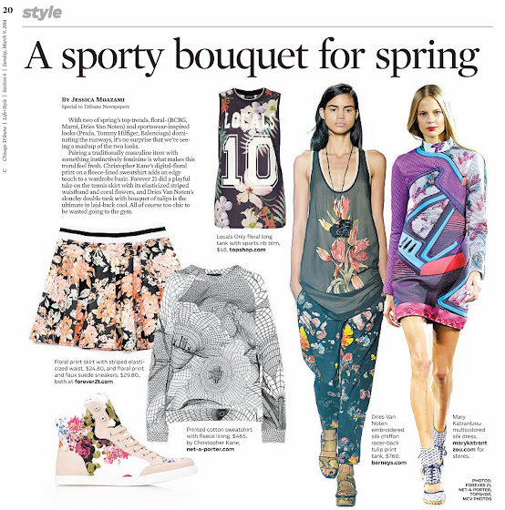 Chicago Tribune page a sporty bouquet for spring by Jessica Moazami