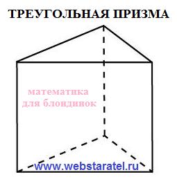 Треугольная призма. Площадь поверхности треугольной призмы. Математика для блондинок.