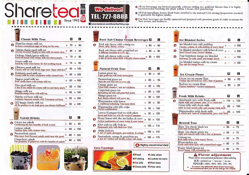 Menus In Manila Sharetea Menu