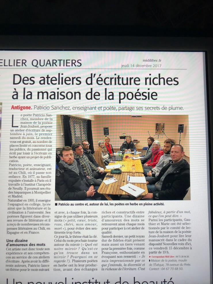 Atelier d'ecriture - Maison de la Poésie Jean Joubert - 2017 (Patricio SANCHEZ ROJAS).-