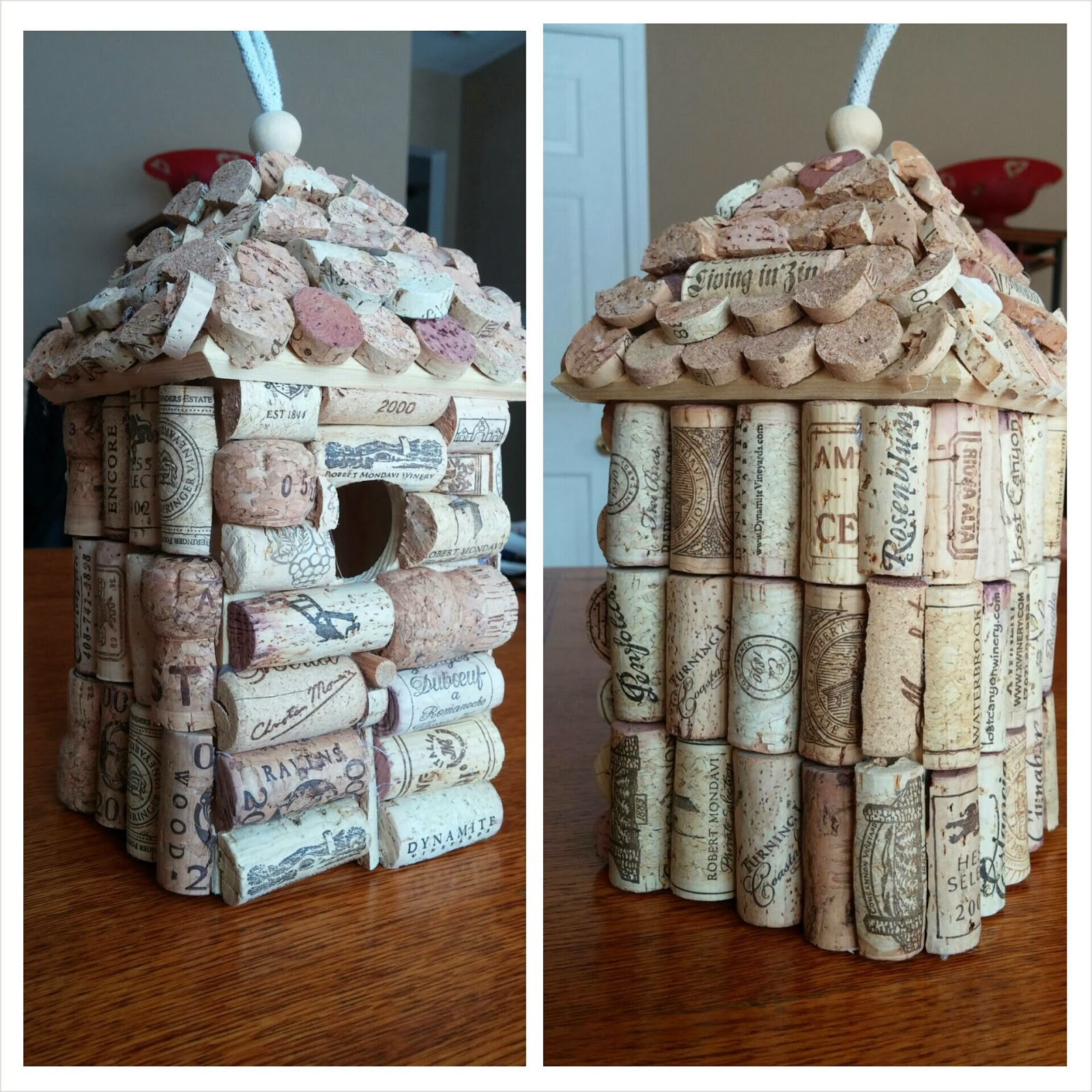 Corky crafts knit hats making a wine cork birdhouse for How to build a birdhouse out of wine corks