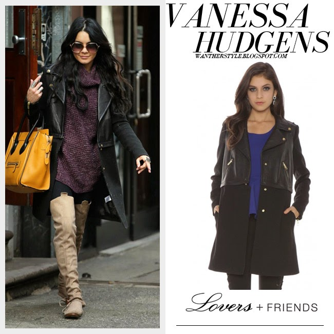 Vanessa Hudgens in black leather and wool hello moto coat from Lovers & Friensand beige suede boots want her style outfit inspiration