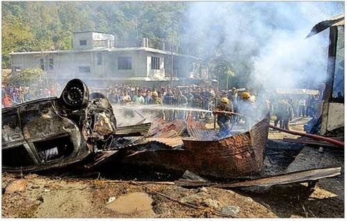 Fire in Relli, near Mukti bridge Kalimpong