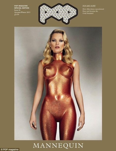 Kate Moss in Bronze for Pop Magazine issue 29 cover