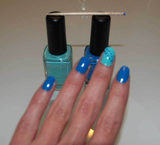 kiko nails blue dots uñas esmaltes