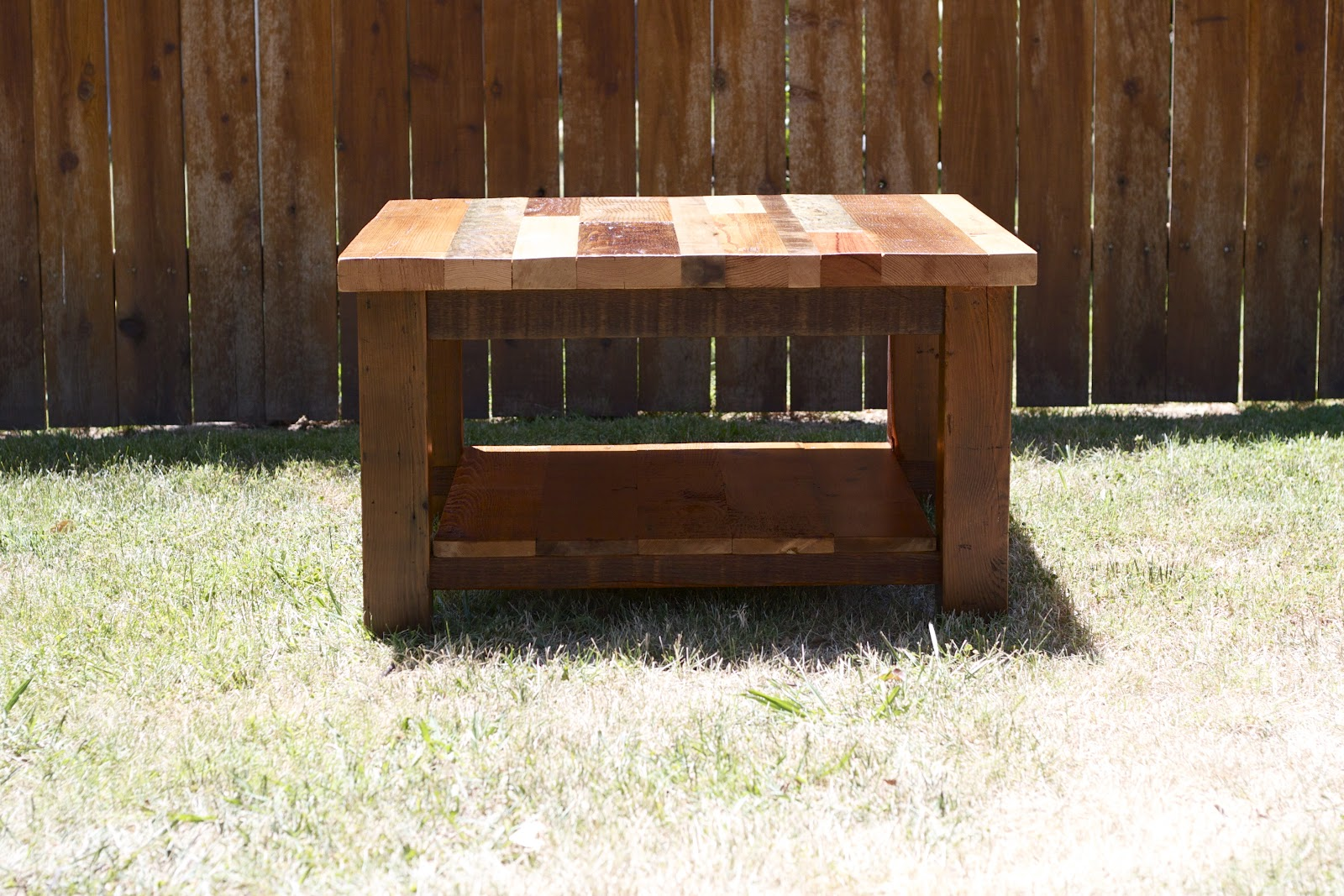Arbor Exchange | Reclaimed Wood Furniture: Square Patchwork Coffee Table  With Bottom Shelf