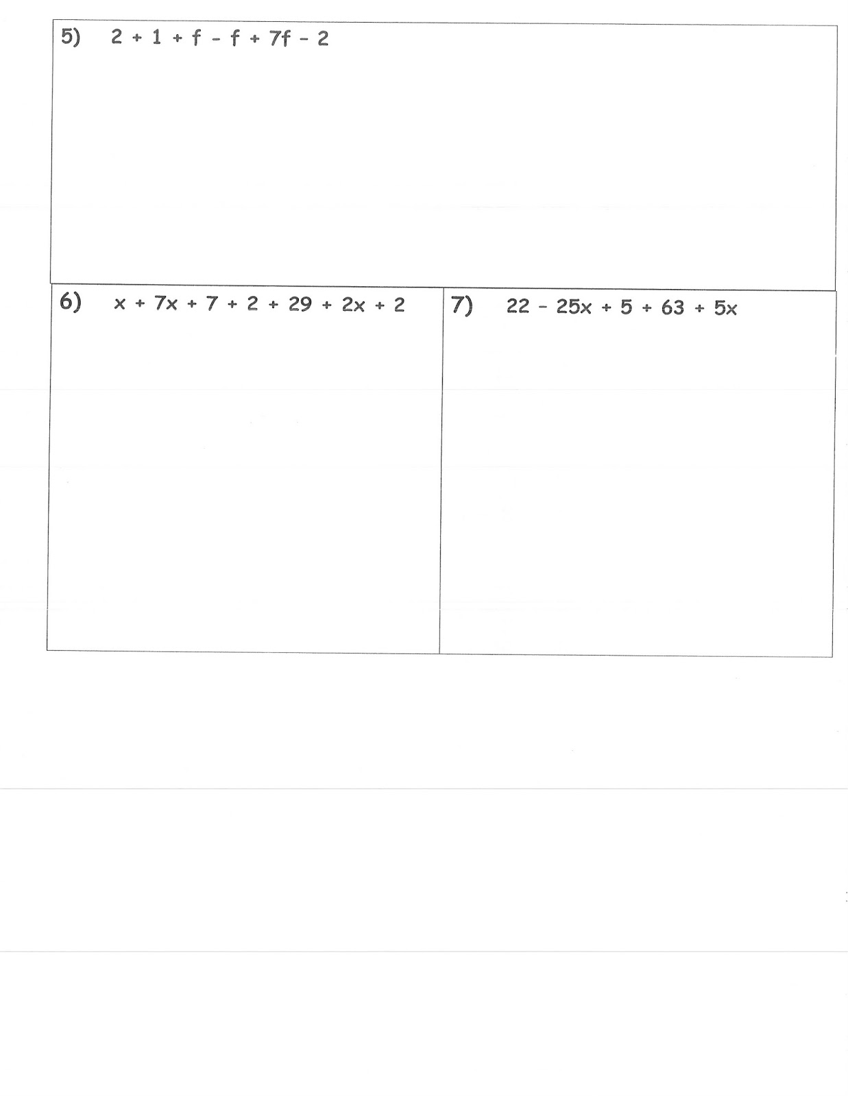 Mrs Whites 6th Grade Math Blog COMBINING LIKE TERMS ASSESSMENT – Combining Like Terms Worksheet 6th Grade