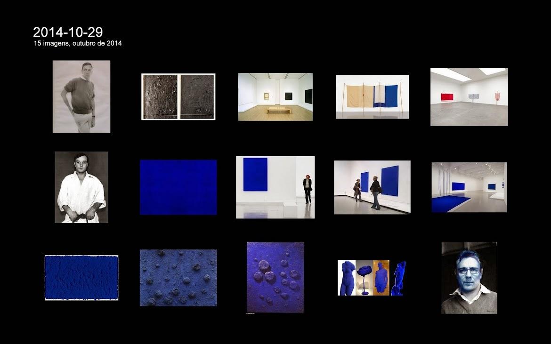 Robert Rauschenberg; e duas fileiras de obras da fase monocromática de Yves Klein, azul IKB.