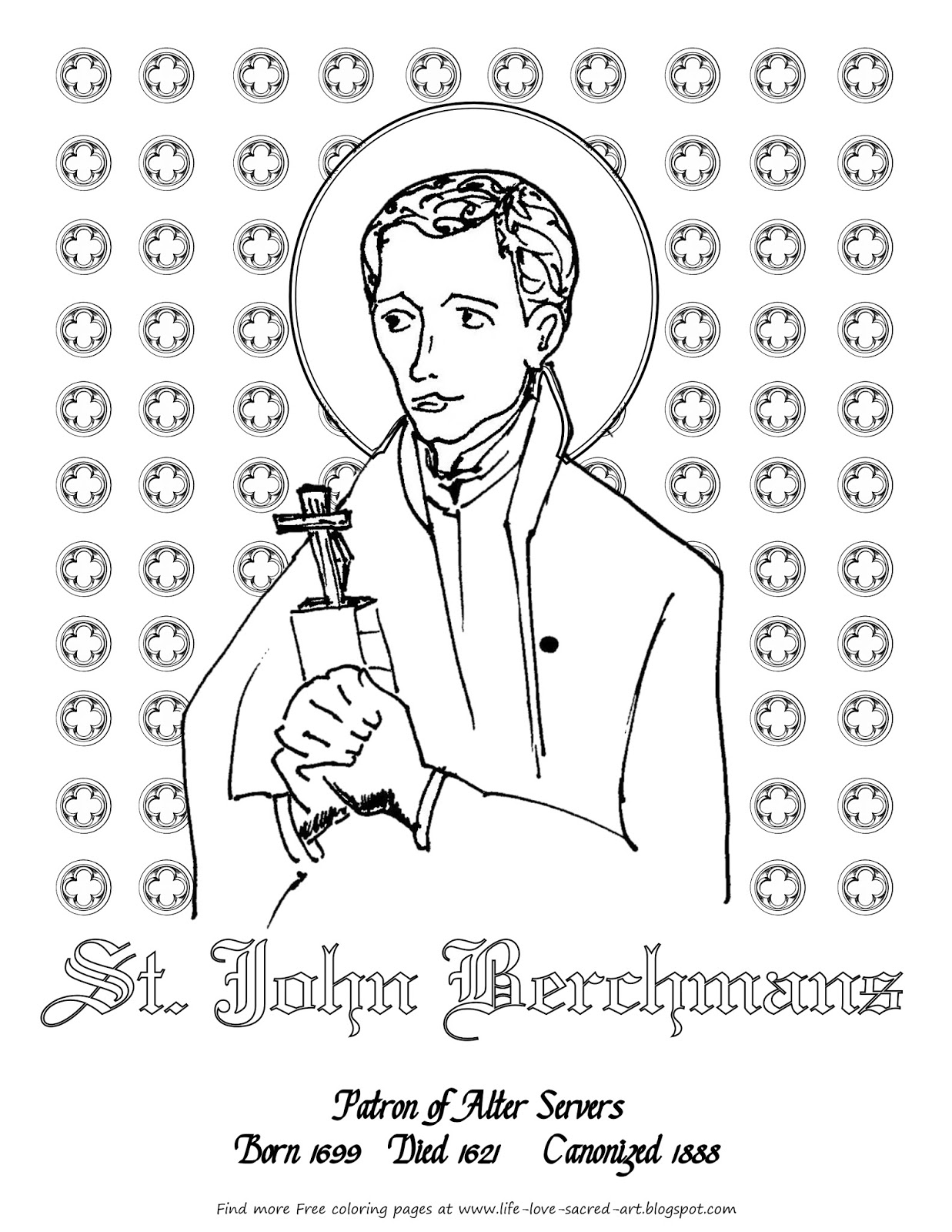 life love u0026 sacred art st john berchmans free coloring page