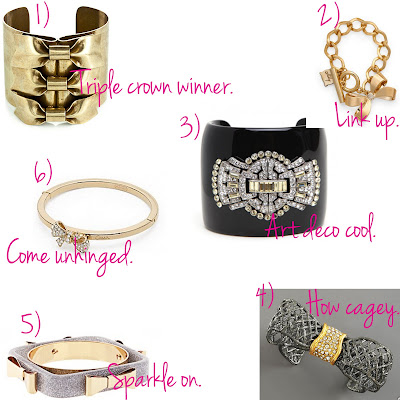 bow bracelets, trend, fashion trend, jewelry, trend-spotting, cuff, Dannijo Wiig Bracelet, Milly Bow Charm Bracelet, BaubleBar Bow Coup Cuff, Alexis Bittar Pave-Accented Bow Cuff, Ted Baker Exclusive to Asos Gold and Silver 4 Bow Acrylic Bangle, Coach Pave Mini Bow Hinged Bangle