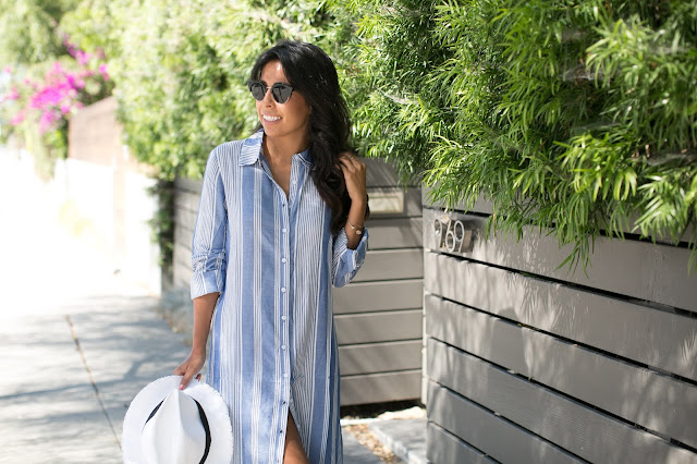 what to wear summer beach outfit, stripped dress, sole society sunglasses, pursuit of shoes