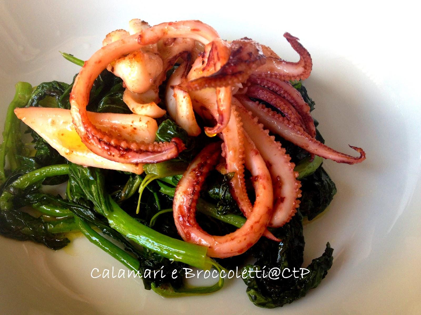 calamari in padella con broccoletti olio extra vergine e limone