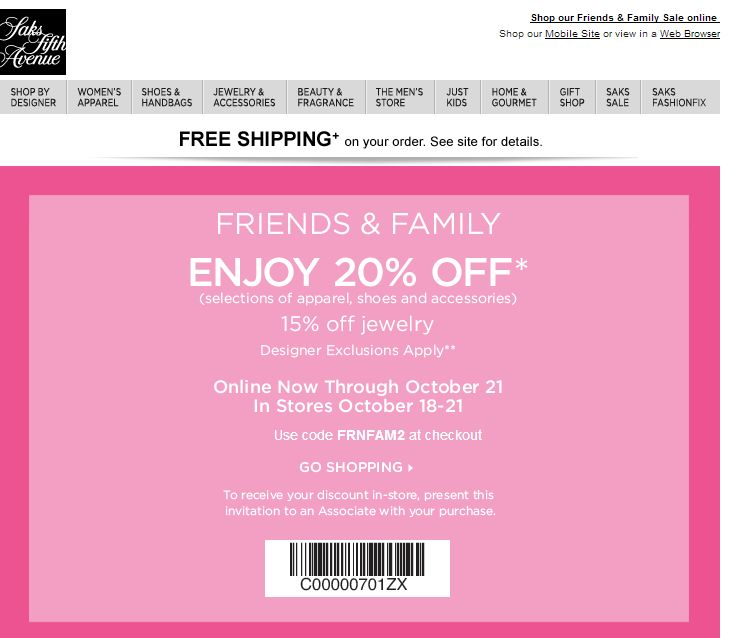 SHOPALITE: Saks 20% Off Friends & Family Event