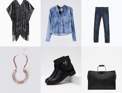 Roupa e acessórios da Zara, Stradivarius e Blanco, para reproduzir um look similar