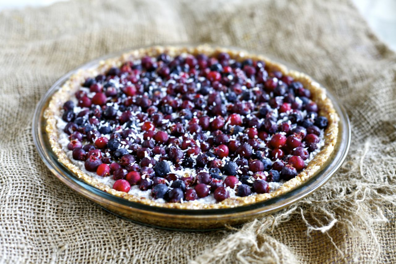 Coconut-Chia Pie with Serviceberries
