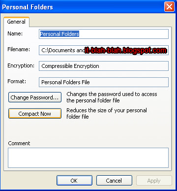 Personal Folders compact menu