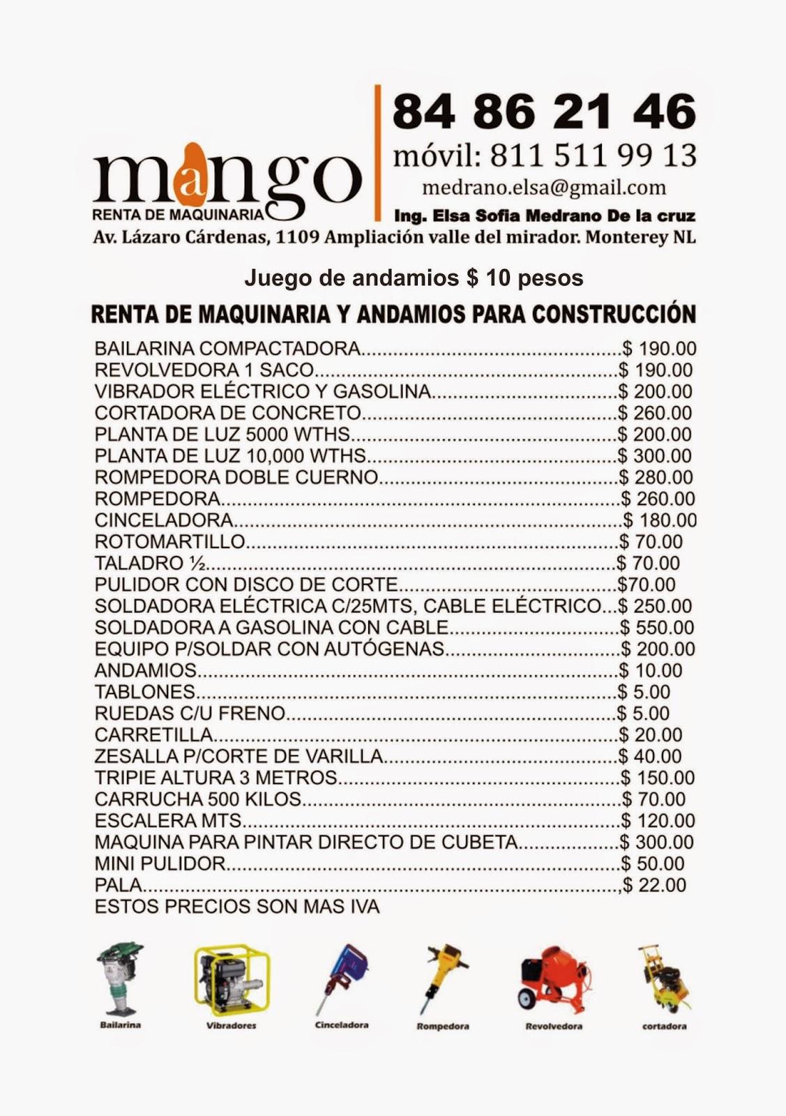 Andamios y renta de maquinaria para la construccion for Alquiler de andamios precios