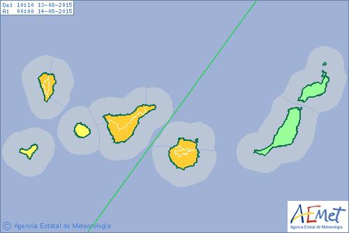 Tenerife, La Palma y Gran Canaria, en alerta naranja por lluvias
