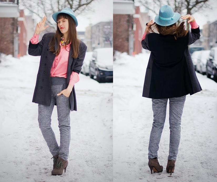 Photo mode du veston bicolore sur Nadya