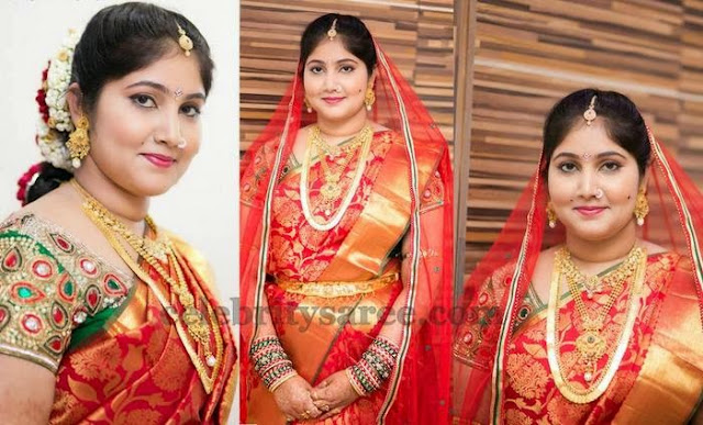 Bride in Red Kanchi Saree